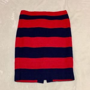 J. Crew pencil skirt, 00, red & navy striped